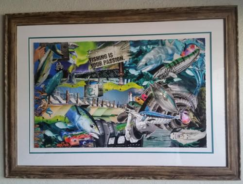 Themed to a culture of people who live with the taste of salt water on their lips Reel Passion was inspired by those who have a love and passion for the sea!   This is a Museum Paper Giclee - tripple mat with wood acid washed wood frame ... Value $1,800 .... or $1,200 with Black Frame.
